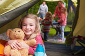 Girl With Teddy Bear Enjoying Camping — Stock Photo