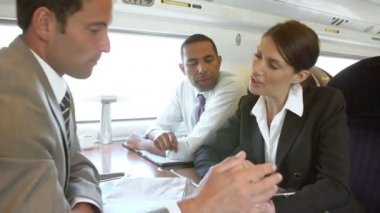 Businesspeople Having Meeting On Train — Stock Video