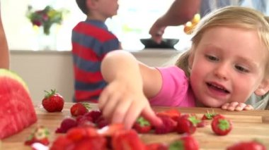 Girl takes Strawberries — Stock Video