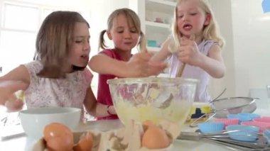 Three Girls Making Cake Together — Stock Video