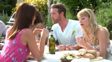 Friends enjoying summer barbeque — Stock Video