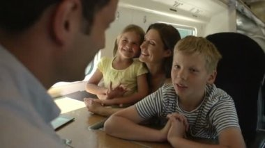 Family talking together On Train Journey — Stock Video