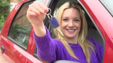 Teenage Girl Sitting In Car With Key — Stock Video