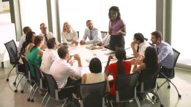 Businesswoman Addressing Meeting — Stock Video