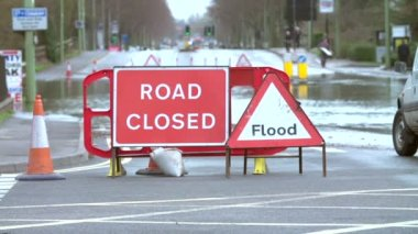Warning Traffic Sign On Flooded Road — Stock Video