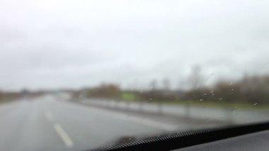Car Journey Viewed Through Windscreen — Stock Video