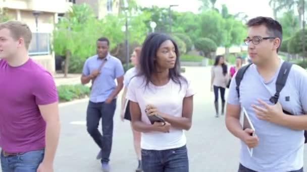 Estudiantes caminando y hablando en el Campus — Vídeo de stock