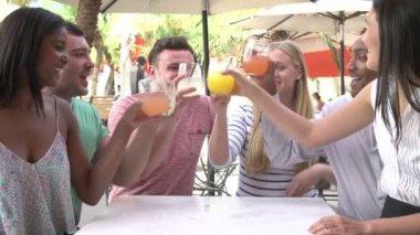 Group Of Friends Enjoying Drinks In Outdoor Restaurant — Stock Video