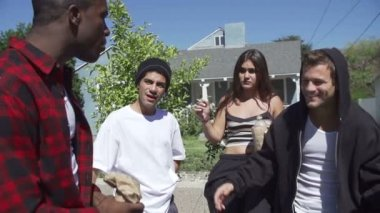 Gang Of Young People In Urban Setting — Stock Video