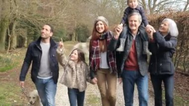 Multi Generation Family On Countryside Walk — Wideo stockowe
