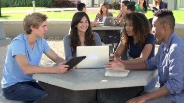 Öğrenciler proje üzerinde işbirliği yapma — Stok video