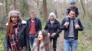 Multi Generation Family On Countryside Walk — Stock Video