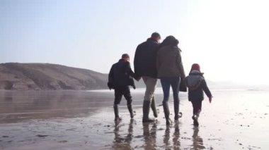Multi Generation Family Walking On Winter Beach — Stock Video