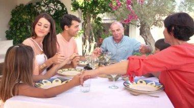 Family enjoying meal in garden — Stock Video