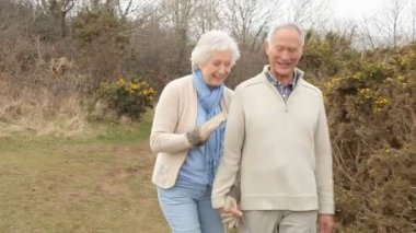 Senior Couple Walking on Countryside — Stock Video