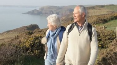 Senior Couple Walking and  take photo — Stock Video