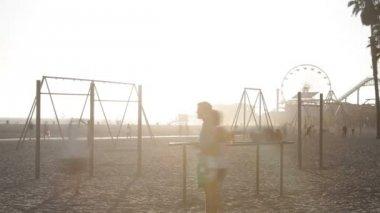 Sun Setting Over Beach — Stock Video