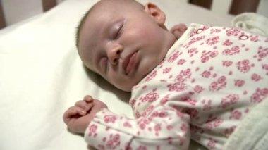 Baby Girl Sleeping In Nursery Cot — Stock Video