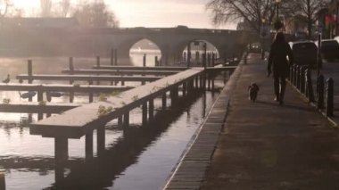 Misty Morning Over River Thames In Henley — Stockvideo