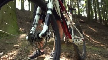 Man Standing With Mountain Bike — Stock Video