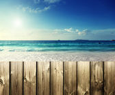 Fence on the beach — Stockfoto