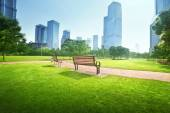 Bench in park, Shanghai, China — Stock Photo