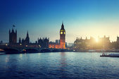 Big Ben and Westminster at sunset, London, UK  — Zdjęcie stockowe