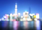 Bokeh of Shanghai skyline at night — Stock Photo