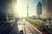 Road in shanghai lujiazui financial center — Stock Photo
