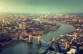 London aerial view with  Tower Bridge in sunset time — Foto Stock