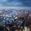 London aerial view with  Tower Bridge in sunset time — Stockfoto #55917915