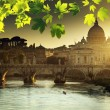 View on Tiber and St Peter Basilica in Vatican — Stock Photo #55918393