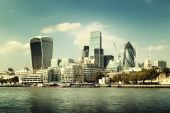 London city skyline from the River Thames — Stok fotoğraf