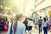 Young woman on street of London — Stock Photo