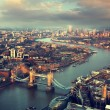 London aerial view with  Tower Bridge in sunset time — Stock Photo #56409839