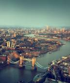 London aerial view with  Tower Bridge in sunset time — Stock Photo