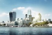 London city skyline from the River Thames — Stock Photo