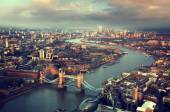 London aerial view with  Tower Bridge in sunset time — Stok fotoğraf