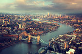 London aerial view with  Tower Bridge in sunset time — Zdjęcie stockowe