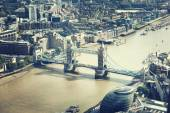 London aerial view with Tower Bridge, UK — Stockfoto