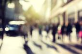 People in bokeh, street of London — Stock Photo