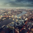 London aerial view with Tower Bridge in sunset time — Stock Photo #57091867