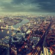 London aerial view with Tower Bridge in sunset time — Stockfoto #58208253