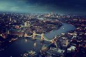 London aerial view with Tower Bridge, UK — Stockfoto