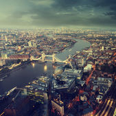 London aerial view with  Tower Bridge in sunset time — Photo
