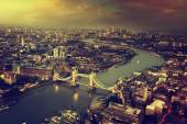 London aerial view with  Tower Bridge in sunset time — Stock fotografie