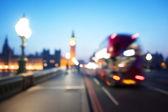 Bokeh of Big Ben and Westminster Bridge, London — Stock Photo