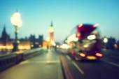 Bokeh of Big Ben and Westminster Bridge, London — Stock Photo