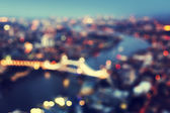 Bokeh of London aerial view with Tower Bridge, UK — Stock Photo