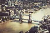 London aerial view with Tower Bridge, UK — Stock Photo